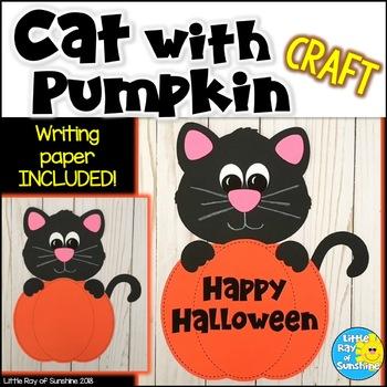 Halloween Cat Craft with Pumpkin for October