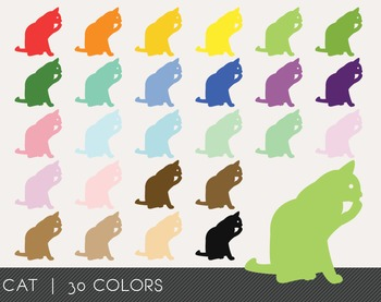 Cat Digital Clipart, Cat Graphics, Cat PNG, Rainbow Cat Digital Files