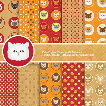 Cat Digital Papers - Red, Orange, Tan Printable Backgrounds, Polkadots and Cats
