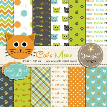 SET: Cat Digital papers and clipart, Pet Digital Paper, Cat head Clipart