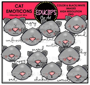 Cat Emoticons Clip Art Bundle {Educlips Clipart}
