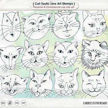 Cat Face Line Art, Kitten Black Line Art Outlines, Cat Digital Stamp, Hand Drawn