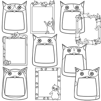 Cat Frames Clipart by Splashy Pix | Teachers Pay Teachers