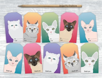 Cat Gift Tags - 10 Handmade Illustrated Pet Hang Tags For DIY Gift Wrapping