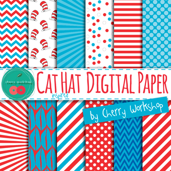 Cat Hat Digital Paper