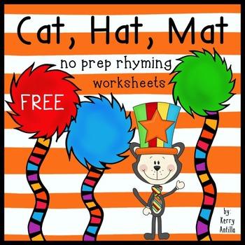 Cat, Hat, Mat- no prep rhyming worksheets *FREE* by Kerry Antilla