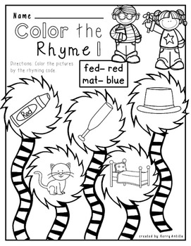 cat hat mat no prep rhyming worksheets freekerry