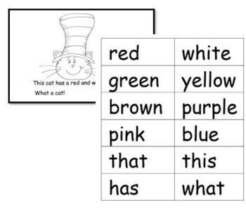 "Cat Hat Theme Reproducible Book, ""What a Cat!"" Color Words Kindergarten"