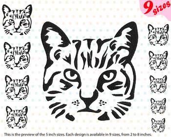 Cat Head Embroidery Design Farm Kitten kitty Milk kats face kat 222b