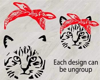 Cat Head whit Bandana Silhouette SVG clipart Farm Kitten kitty Milk 829S