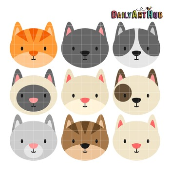 Cat Heads Clip Art - Great for Art Class Projects!