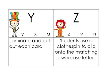 Cat In The Hat Inspired Uppercase/Lowercase Match Clip Cards