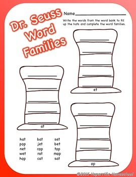 Cat In the Hat Word Families Printable