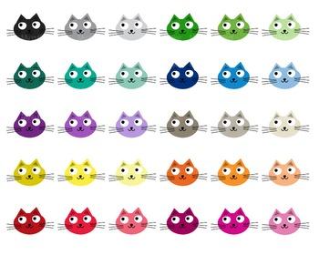 Cat Kawaii  - Clipart - 30 colors - 30 PNG files - Pet clipart - Cat clipart