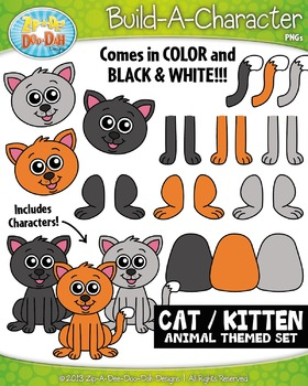 Cat / Kitten Build-A-Character Clipart Set — Includes 30+