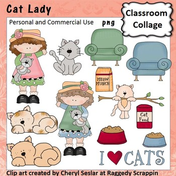 Cat Lady Clip Art personal & commercial use C Seslar