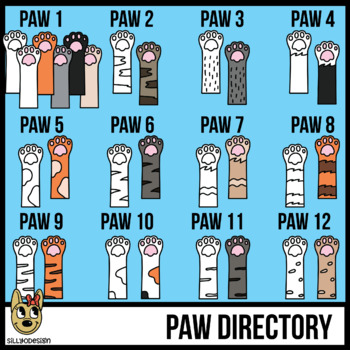 Cat Paws and Cat Claws with Legs Clip Art