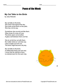 "Cat Poem, Poem of the Week Called ""My Cat Talks to the Bir"