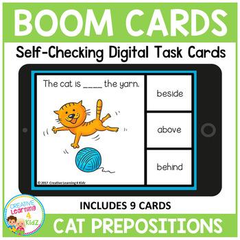 Cat Prepositions Digital Task Cards: BOOM CARDS