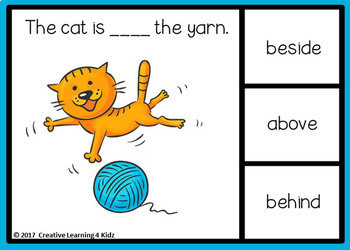 Cat Prepositions Digital Task Cards: BOOM CARDS