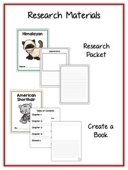 Cat Research Project - 12 Types, Vocab Cards, Packet, Book  + More!