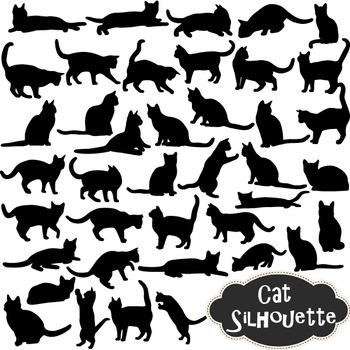 Cat Silhouette Clip Art Black Kitty Silhouette Clipart Scrapbooking Cat Element