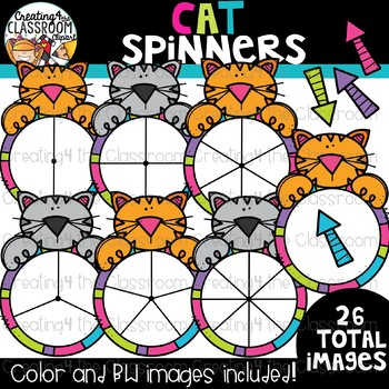 Cat Spinners Clipart {Math Clipart}