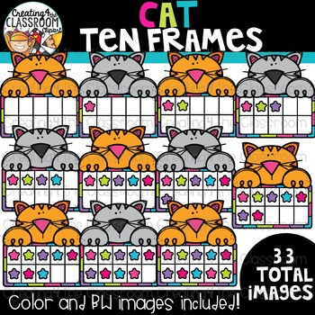 Cat Ten Frames Clipart {Math Clipart}