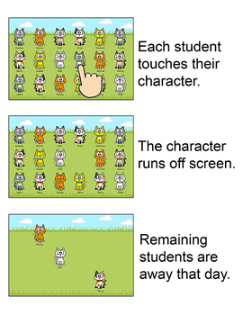 Cat Theme Attendance with Optional Lunch Count - Interactive Whiteboards
