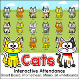 Cat Theme Attendance Tracker with Optional Lunch Count - Interactive Whiteboards