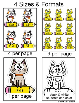 Cat Theme Name Tags and Locker Labels