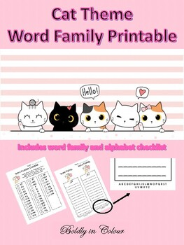 Cat Theme Word Family Printable