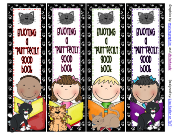 Cat Themed Bookmarks - 8 Designs
