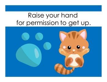 Cat Themed Classroom Decor | Class Rules Kindergarten | Kindergarten Class Rules