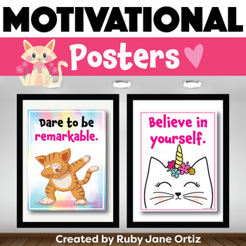 Cat Themed Motivational Posters for Back to School Bulletin Boards
