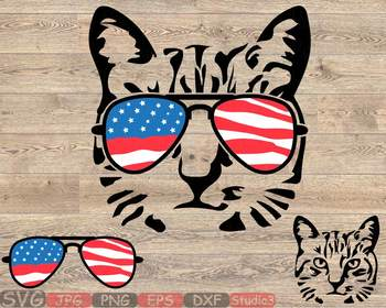 Cat USA Flag Glasses Silhouette SVG clipart Head Farm Kitten kitty 4th July 847S