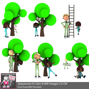Cat Up A Tree Sequencing Clip Art 2 - 6 Color & 6 Blackline Clipart Images