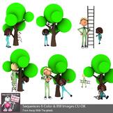 Cat Up A Tree Sequencing Clip Art 2 - 6 Color & 6 Blacklin