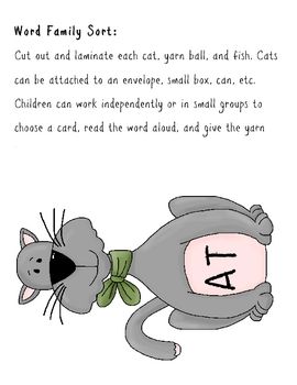 Cat Word Family Literacy Center: At, Ab, An Families