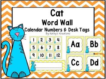 Cat Word Wall, Calendar Numbers & Desk Plates