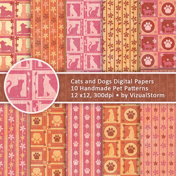 Cat and Dog Paper Patterns - 10 Handmade Colorful Whimsical Pet Designs