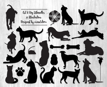 Cat and Dog Silhouette Clipart - 23 Black Pet Illustrations