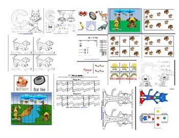 Cat and Dog Themed Activities, Games, Pocket Chart manipulatives, and more