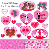 Clipart: Cat and Dog Valentine Clip Art