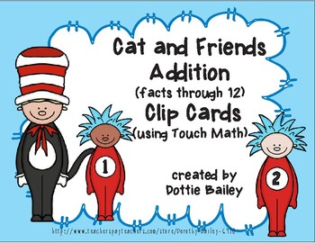 Cat and Friends Addition Touch Math Clip Cards - Facts Through 12