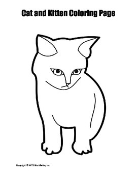 Cat and Kitten Coloring Page Bundle