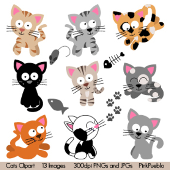 Cat and Kittens Clipart
