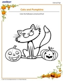 Cat and pumpkins...coloring page