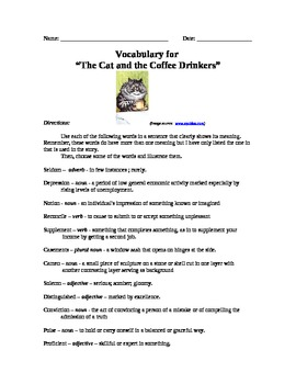 """Cat and the Coffee Drinkers"" by Max Steele: Short Story Work"