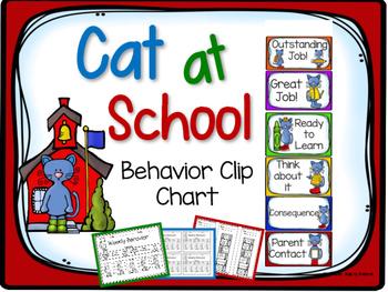 Cat at School Behavior Clip Chart